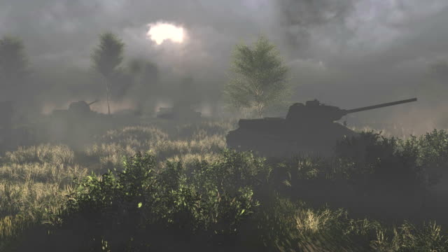 Russian tanks T 34 crossed the battlefield video