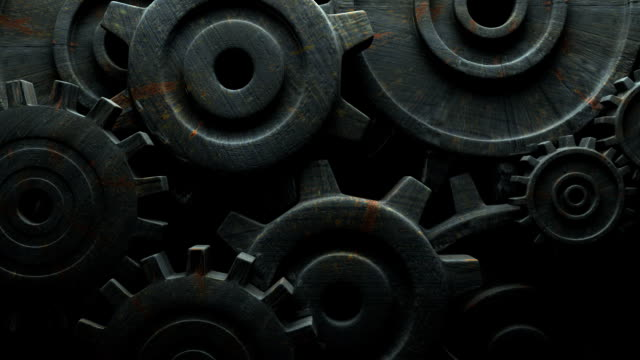 Rusted Gears On Black Background video