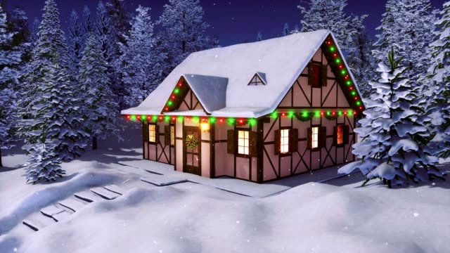 Rustic house decorated by christmas lights at snowfall winter night
