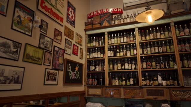 Rustic wine shelf in restaurant