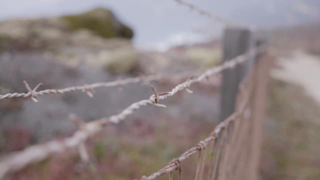 rusty barbed wire fence close up - imperfection stock videos & royalty-free footage