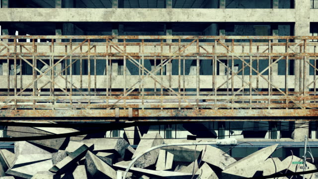 Rusty bridge on a construction wrecks background video