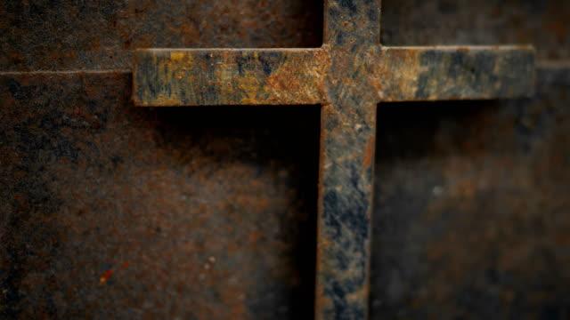 rusty cross - old and rusty cross iron door rusty grunge background