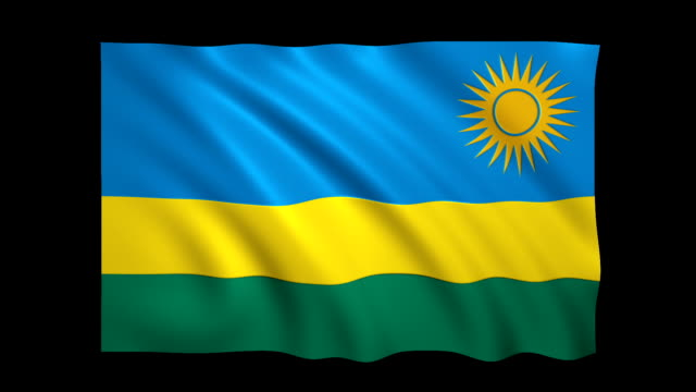 rwanda flag loopable alpha included - stock video - politica e governo video stock e b–roll