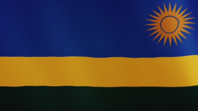 Rwanda flag waving animation. Full Screen. Symbol of the country video