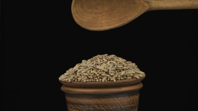 vidéos et rushes de les grains de seigle dorment suffisamment d'une cuillère en bois sur un tas de graines dans un bol d'argile. - seigle grain