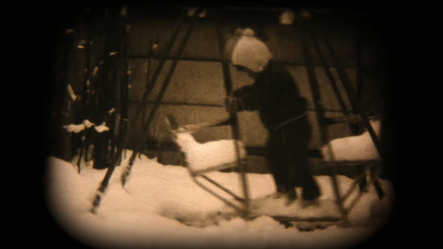 60's 8mm footage - Baby boy play with swing