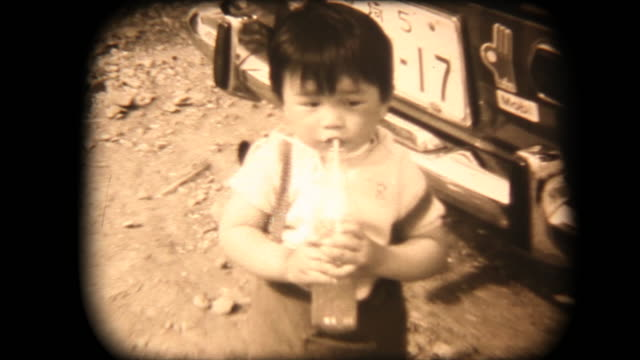 60's 8mm footage - drink jucie - cola video stock e b–roll