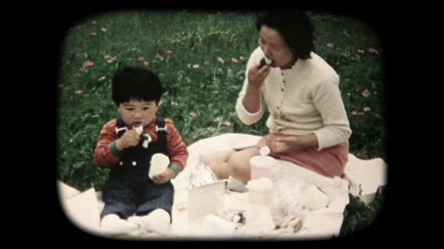 60's 8mm footage - Family picnicking outdoors video