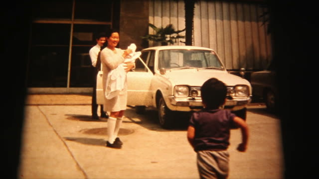 60's 8mm footage - Mother and newborn baby going to home