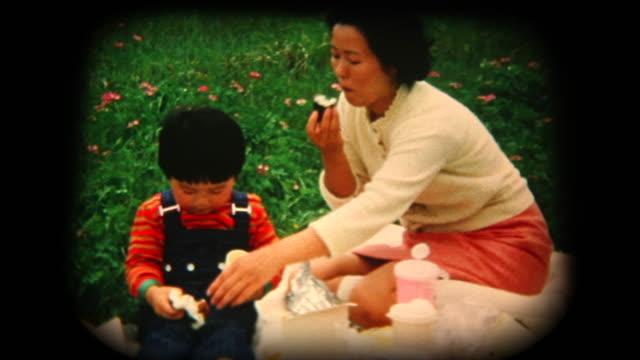 60 年代の 8 mm 映像 - 母と息子のピクニック - 家族旅行点の映像素材/bロール