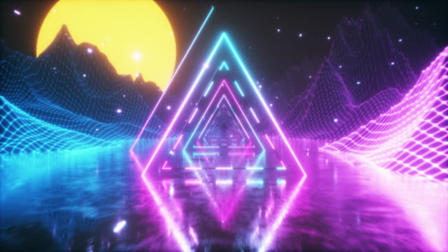 80's abstract retro futuristic background. beautiful animation with ultraviolet neon triangle modern lights. retro wave stylization. flying in space with particles and sun - funky video stock e b–roll