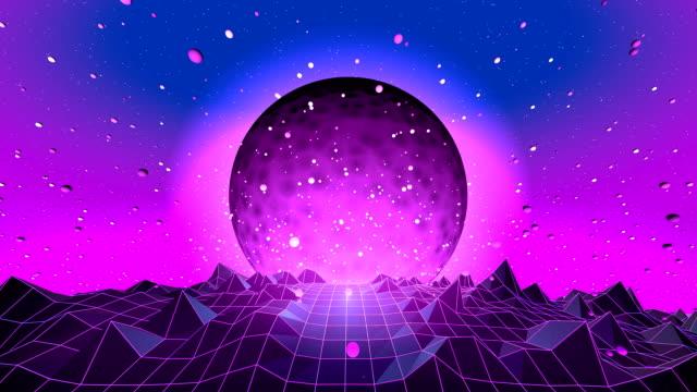 vídeos de stock e filmes b-roll de 80's fluorescent day and night series - trippy background