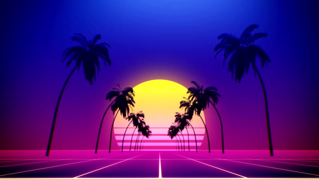 80's retro style background with tropical coconut trees and summer sunset from 3d render looped