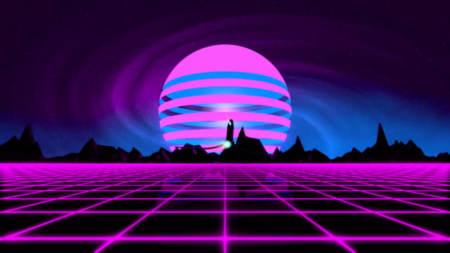 VJ 80's Synthwave Horizon Retro futuristic 80's synthwave fluorescent style day and night series. Spaceship flying over the glowing mesh. Perfectly looped VJ animation. neon colored stock videos & royalty-free footage