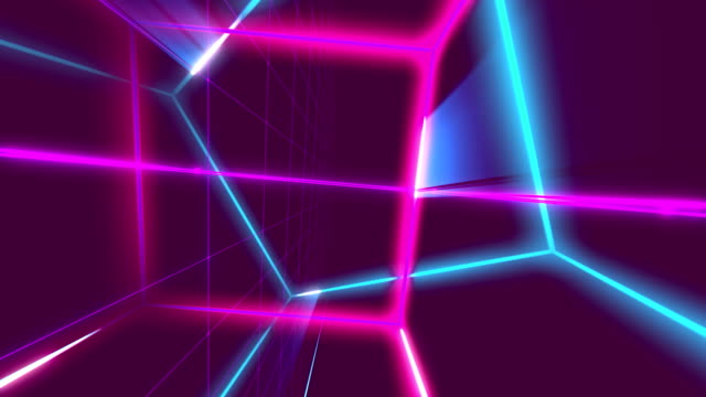 VJ 80's Synthwave Space Retro-futuristic 80's synthwave fluorescent style video. Perfectly looped VJ animation. geometric background stock videos & royalty-free footage