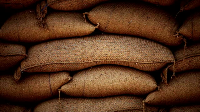Sacks full of grains in burlap bags Full HD : Sack of grain are stacked at a grain market in Haryana, India. rice cereal plant stock videos & royalty-free footage