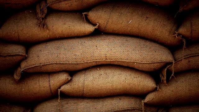 säckar fulla av korn i säckväv säckar - ris spannmålsväxt bildbanksvideor och videomaterial från bakom kulisserna