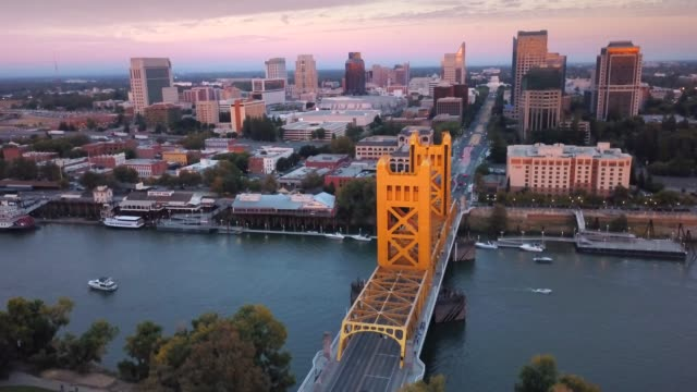 Sacramento Tower Bridge and Capitol Building Aerial View
