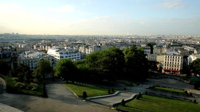 sacre coeur skyline - montmatre utsikt bildbanksvideor och videomaterial från bakom kulisserna
