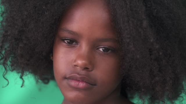 Sad Black Girl Cute Hispanic Child With Afro Hair video