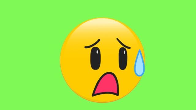 traurig, aber erleichtert gesicht emoji - smiley stock-videos und b-roll-filmmaterial