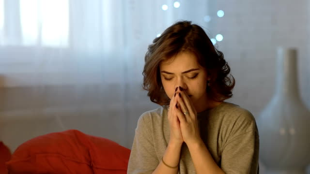 Sad Depressed Beautiful Young Woman Crying In Bedroom At Home video