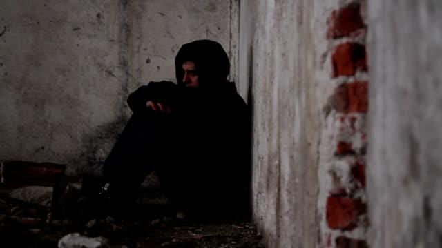 Sad Depressed Homeless Man Abandoned Shelter video