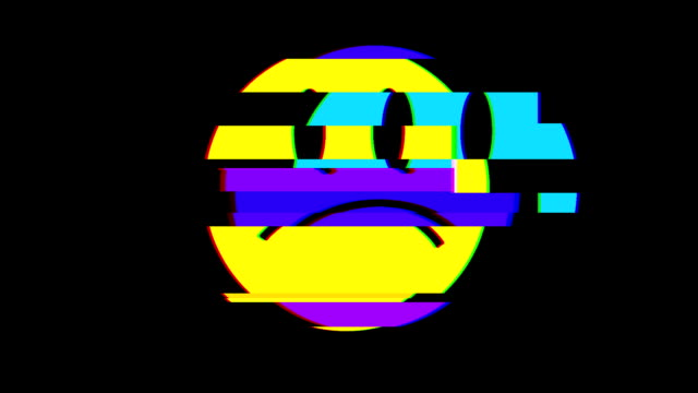 sad smile face symbol seamless loop glitch interference animation new dynamic retro joyful colorful retro vintage video footage video