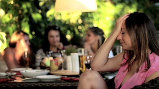 Sad women at the garden party video