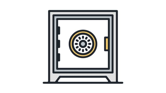 Safety Deposit Box Line Icon Animation with Alpha