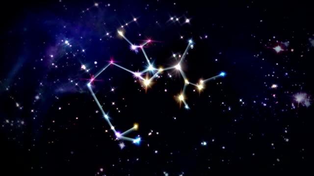 vídeos y material grabado en eventos de stock de sagitario horóscopos espacio rotación 09 - constelación