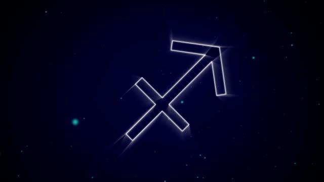 Sagittarius zodiac sign on purple