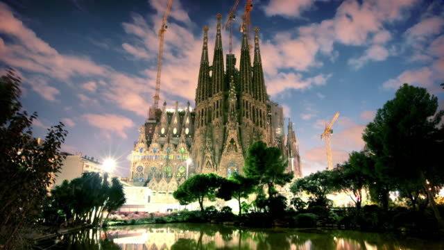 Sagrada Familia at dusk, Barcelona, Spain video