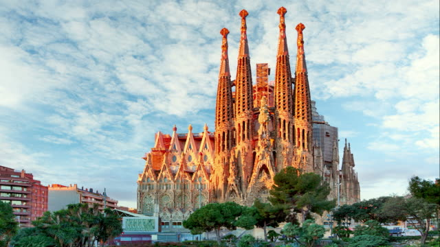 sagrada familia, time lapse - barcelona - gothic architecture stock videos & royalty-free footage