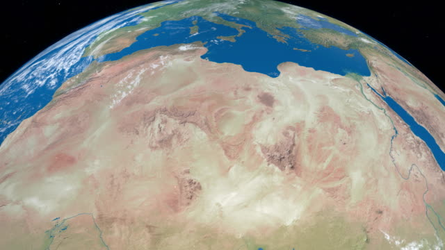 sahara desert in planet earth, aerial view from outer space - aerial map stock videos & royalty-free footage