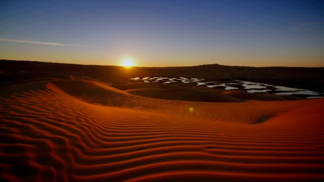 Sahara Desert landscape, wonderful dunes early in the morning. Time-laps.