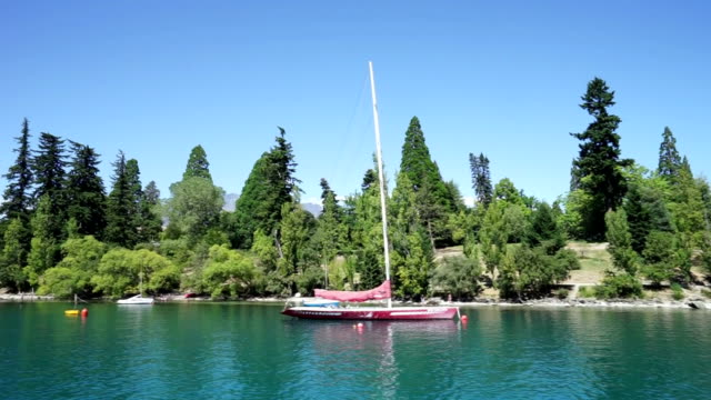 sail boat near beach with trees video