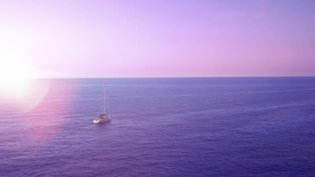 Sailboat alone on the Mediterranean Sea video