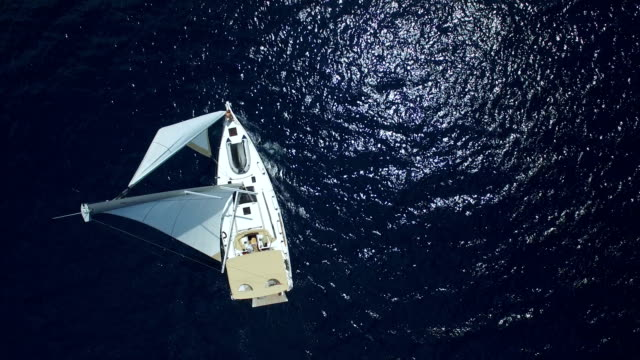 Sailboat from above, shot from drone video