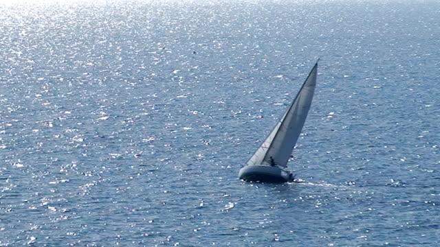 Sailboat in regatta on blue sea video