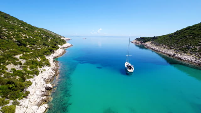 AERIAL Sailboat In The Adriatic Bay video