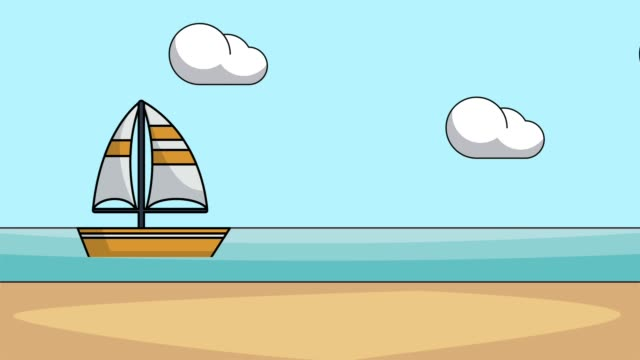Bидео Sailboat in the sea HD animation