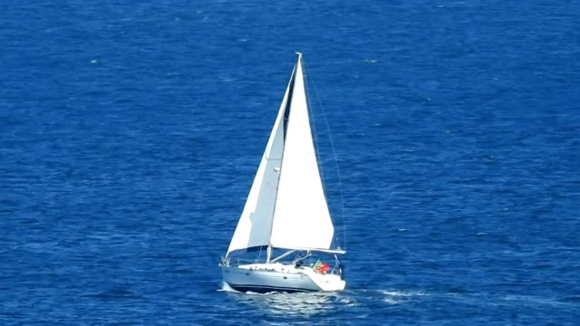 Sailboat Or Yacht On Ocean video