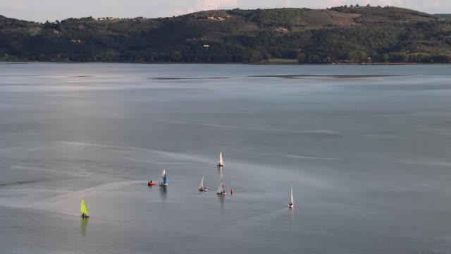 Sailboats on lake - aerial view