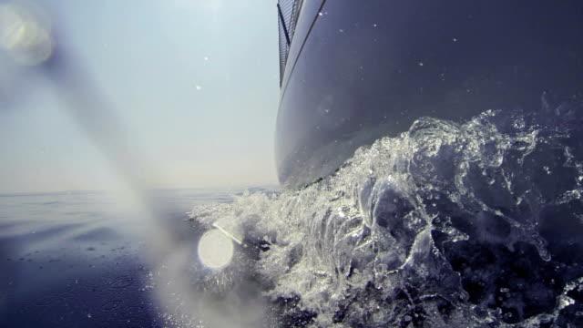 sailing boat bow during cruise - skrov bildbanksvideor och videomaterial från bakom kulisserna