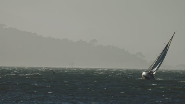 Sailing boat in a gale with huge wind