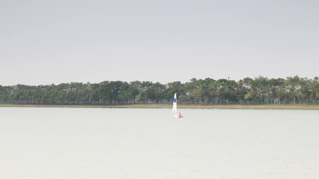 Sailing boat in lake