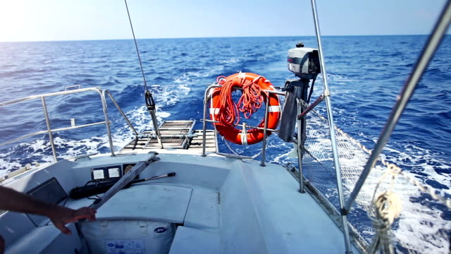 Sailing boat stern during cruise video