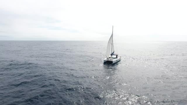 vídeos y material grabado en eventos de stock de catamarán de vela en el océano atlántico - anclado